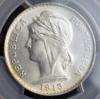 1916 PORTUGAL  REPUBLIC . BEAUTIFUL SILVER 50 CENTAVOS COIN. PCGS MS 63