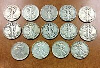 1919 -1946 WALKING LIBERTY HALF DOLLAR LOT OF 14 DIFFERENT YEARS VG-VF