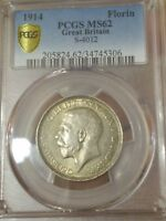 PCGS GREAT BRITAIN MS 62 1914 FLORIN SILVER UNC COIN GEORGE V 2 SHILLING UK