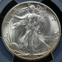 1945-D 50C WALKING LIBERTY HALF DOLLAR PCGS AND CAC MINT STATE 66