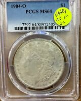 1904-O MORGAN SILVER DOLLAR PCGS MINT STATE 64  VAM-1B1 PITTING IN OL HEAVY LINES IN TAIL