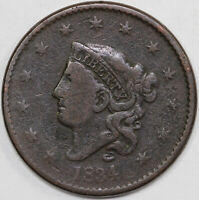 1834 1C CORONET OR MATRON HEAD LARGE CENT