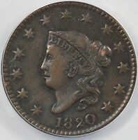 1820 1C CORONET OR MATRON HEAD LARGE CENT ANACS VF 35 DETAILS SCRATCHED