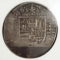 1620 KINGDOM OF SPAIN PHILIP III. MILLED SILVER 8 REALES COIN. NGC VF DAMAGED