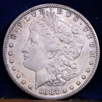 1887-S AU MORGAN DOLLAR VAM-2A S/S PROMINENT DAMAGED DENTICLES  SILVER COIN