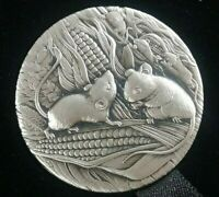 2020 P PERTH MINT LUNAR YEAR OF MOUSE 2OZ SILVER ANTIQUED FI