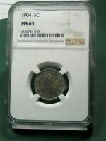 1905 NGC CERTIFIED LIBERTY V NICKEL 5C MINT STATE 63  TONING