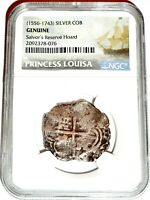 1556 1732 PRINCESS LOUISA REALES SHIPWRECK COIN NGC CERTIFIED EXCELLENT
