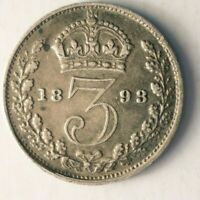1893 GREAT BRITAIN 3 PENCE   AU   HIGH QUALITY VINTAGE SILVE