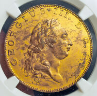 1788 GREAT BRITAIN GEORGE III. PROOF GILT COPPER PATTERN  PENNY COIN. NGC AU