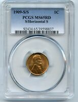 1909-S/S HORIZONTAL S LINCOLN CENT PCGS MINT STATE 65 RD RED
