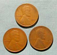 1920 P, 1920-D, 1920-S LINCOLN PENNIES - 3 1 U.S. CENT PENNY PDS