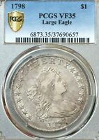 1798 $1 DRAPED BUST DOLLAR LARGE EAGLE POINTED 9 PCGS VF35 B-14 BB-122 SUPERB