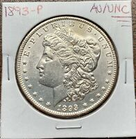 1893-P MORGAN SILVER DOLLAR ABOUT UNCIRCULATED/UNCIRCULATED AU/UNCKEY DATE