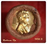 1956 D LINCOLN WHEAT 1C BU BRILLIANT UNCIRCULATED OBW ROLL - FED RESERVE BANK