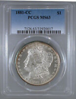 1881-CC MORGAN DOLLAR MINT STATE 63 PCGS CERTIFIED