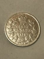 CANADA 1918 TEN CENTS DIME KING GEORGE V. 92.5  SILVER