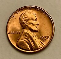 1958 D LINCOLN WHEAT CENT PENNY RED  GEM BU  AB109