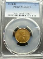 1934-D  LINCOLN WHEAT CENT - PCGS MINT STATE 64 RB