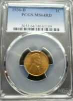 1936-D  LINCOLN WHEAT CENT - PCGS MINT STATE 64 RD