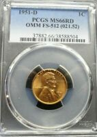 1951-D/S  LINCOLN WHEAT CENT PCGS MINT STATE 66RD OMM FS-512