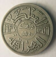 1937 IRAQ 50 FILS    TYPE   EXCELLENT SILVER COIN   LOT J29