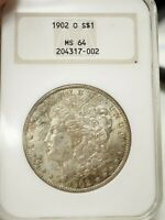 1902-O $1 MORGAN SILVER DOLLAR NGC MINT STATE 64, TONED, OLD HOLDER  7002