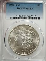 1881 CC CARSON CITY MORGAN SILVER DOLLAR PCGS MINT STATE 63  2912