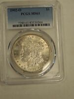 1902 O MORGAN DOLLAR PCGS MINT STATE 61 BRIGHT FREE USA SHIPPING  0564