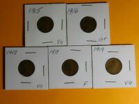 LOT OF 5 PENNIES 1915, 1916, 1917, 1918, 1919  SEE PHOTOS AND DESCRIPTION