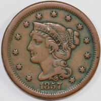 1857 1C SMALL DATE BRAIDED HAIR LARGE CENT