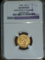 1901 1/10TH OUNCE $2.50 DOLLAR LIBERTY HEAD GOLD COIN WITH A