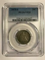 TROUBLE FREE COIN 1875 S TWENTY CENT PIECE PCGS  VERY FINE 2