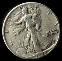1942-D WALKING LIBERTY 90 SILVER HALF SHIPS FREE. BUY 5 FOR $2 OFF