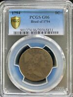 1794 LARGE CENT PCGS G06 HEAD OF 1974 GREAT TYPE COIN W/ GOLD SHIELD & TRUEVIEW