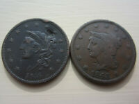 GROUP LOT OF  2  1836 AND 1843 LARGE CENTS. NICE COINS SEE D