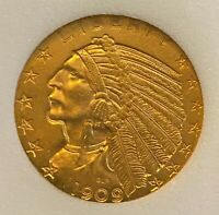 1909 D HALF EAGLE $5 GOLD INDIAN    FREE SHIPPING