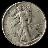 1945-S WALKING LIBERTY 90 SILVER HALF SHIPS FREE. BUY 5 FOR $2 OFF