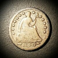 1854 SEATED LIBERTY HALF DIME WITH ARROWS