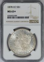 1878-CC NGC SILVER MORGAN DOLLAR MINT STATE 63 PLUS LOTS OF LUSTER  EYE APPEAL