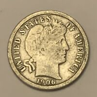 1906 S SILVER BARBER DIME  BETTER DATE  AB143