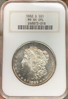 1882-S MORGAN SILVER DOLLAR NGC MINT STATE 64DPLRIM TONED DEEP PROOF-LIKE