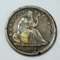 1838 U.S. SEATED LIBERTY SILVER DIME  FINE DETAILS  10  COIN