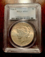 1926-S PEACE DOLLAR $1 PCGS MINT STATE 63 GORGEOUS TONE 90 SILVER