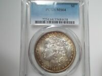 1898 O  MORGAN SILVER DOLLAR PCGS MINT STATE 64 TONED COIN.