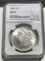 1889-P NGC MORGAN SILVER DOLLAR MINT STATE 62 GRADED