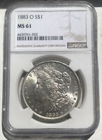 1883 O MORGAN SILVER DOLLAR $1 NGC CERTIFIED MINT STATE 61 UNC -  COIN