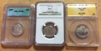 3 NGC 1924 MINT STATE 61 ANACS 1917 TYPE 1 AU 58 FULL HEAD 1930 STANDING LIBERTY QUARTER