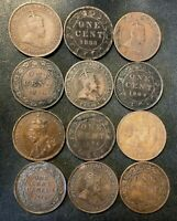 OLD CANADA COIN LOT   1876 1920   12 EXCELLENT LARGE CENTS