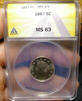 1887 LIBERTY NICKEL ANACS MINT STATE 63